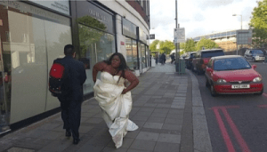 Husband Missing? See Eniola Badmus Running Round The Street Of London With Her Wedding Gown [See Photo]